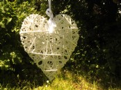 Large White Wicker Hanging Heart