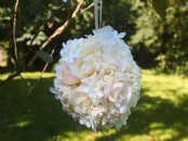 Large Artificial Cream Rose and Hydrangea Pomander