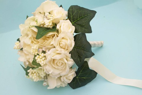 Ivory and White Bridal Bouquet with artificial wedding flowers Roses