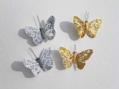 Glittered Feather Butterflies  x 24