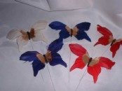 12  x Feather Butterflies