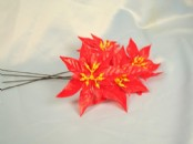 Large red plastic poinsettia pick x 100
