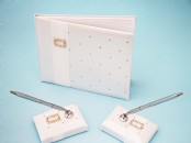 Satin Wedding Guest Book with 2 Pen Holders