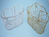 Decorative Wire Basket - Gold or Silver