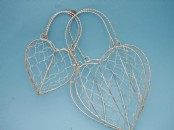 Gold or Silver Heart Shaped Wire Handbags x 2