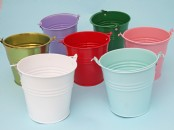"Coloured  Small  Buckets  4""  high"
