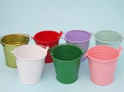 "Coloured  Buckets  3""  high"