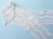 Ivory Elasticated Lace Trim 8cm wide x 1 m