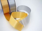 "Matt Gold and Silver 2"" Poly Ribbon"