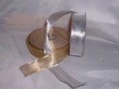 Gold or Silver Fine Mesh Ribbon 25mm wide (20m)