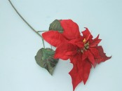 Artificial Velvet Poinsettia Stem